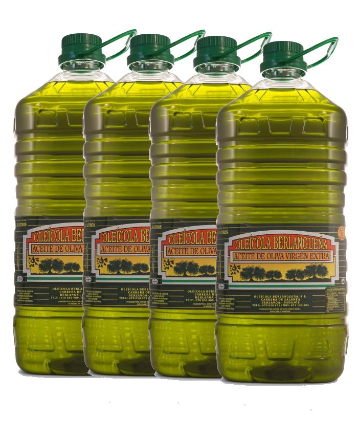 Aceite de Oliva Virgen Extra 4x5L. Variedad Pico Limón y Manzanilla